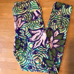🆕Lularoe Leggings TC ( L -XL) Floral purple Green